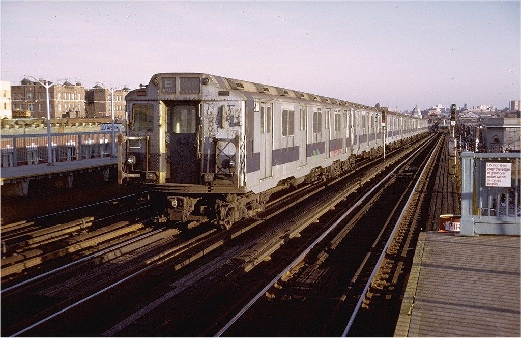 (201k, 1024x664)<br><b>Country:</b> United States<br><b>City:</b> New York<br><b>System:</b> New York City Transit<br><b>Line:</b> BMT West End Line<br><b>Location:</b> 20th Avenue <br><b>Route:</b> B<br><b>Car:</b> R-10 (American Car & Foundry, 1948) 3311 <br><b>Photo by:</b> Doug Grotjahn<br><b>Collection of:</b> Joe Testagrose<br><b>Date:</b> 11/23/1974<br><b>Viewed (this week/total):</b> 5 / 3259