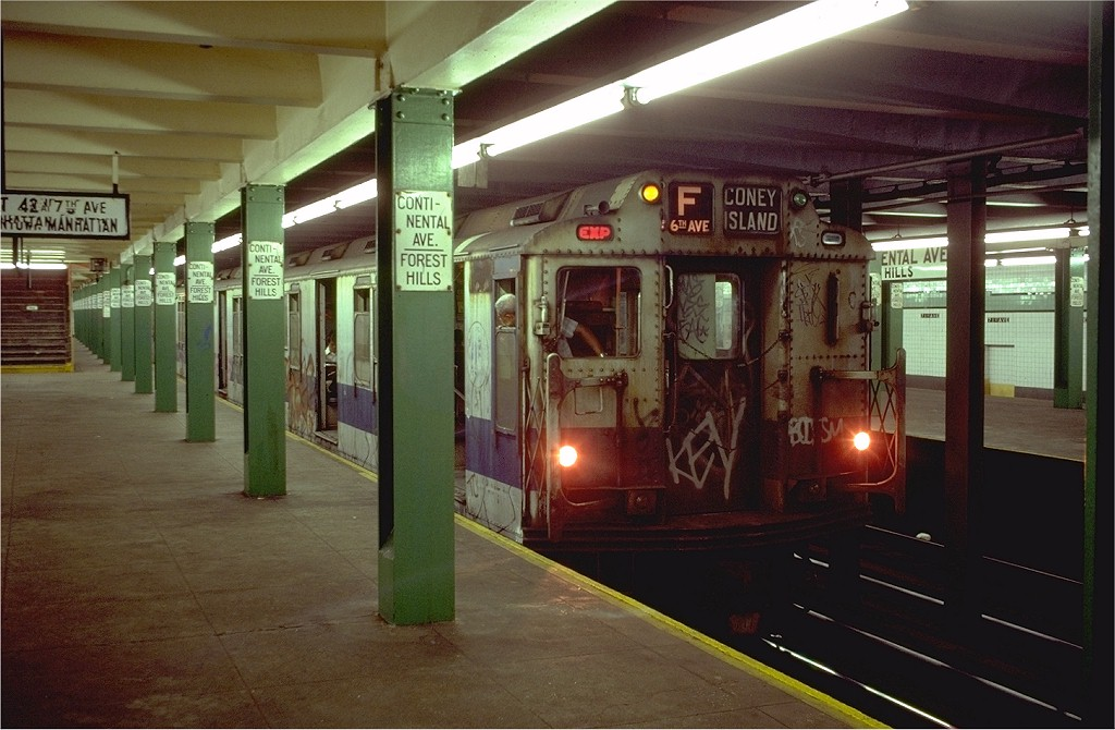 (180k, 1024x670)<br><b>Country:</b> United States<br><b>City:</b> New York<br><b>System:</b> New York City Transit<br><b>Line:</b> IND Queens Boulevard Line<br><b>Location:</b> 71st/Continental Aves./Forest Hills <br><b>Route:</b> F<br><b>Car:</b> R-10 (American Car & Foundry, 1948)  <br><b>Photo by:</b> Doug Grotjahn<br><b>Collection of:</b> Joe Testagrose<br><b>Date:</b> 8/11/1980<br><b>Viewed (this week/total):</b> 6 / 6956