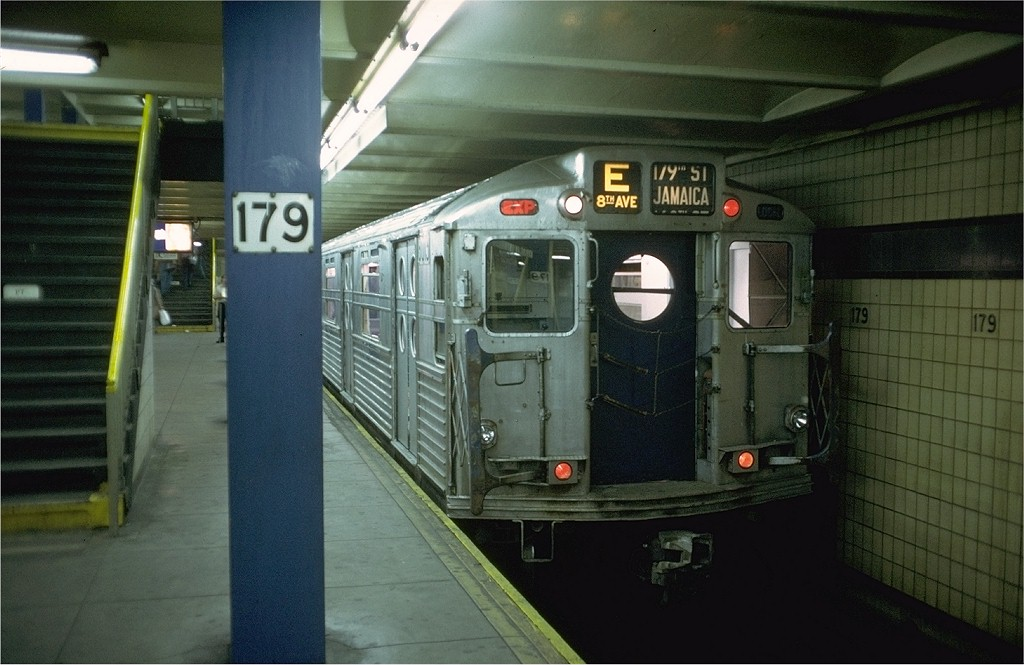 (169k, 1024x665)<br><b>Country:</b> United States<br><b>City:</b> New York<br><b>System:</b> New York City Transit<br><b>Line:</b> IND Queens Boulevard Line<br><b>Location:</b> 179th Street <br><b>Route:</b> Fan Trip<br><b>Car:</b> R-11 (Budd, 1949) 8013 <br><b>Photo by:</b> Doug Grotjahn<br><b>Collection of:</b> Joe Testagrose<br><b>Date:</b> 9/21/1975<br><b>Viewed (this week/total):</b> 6 / 5386