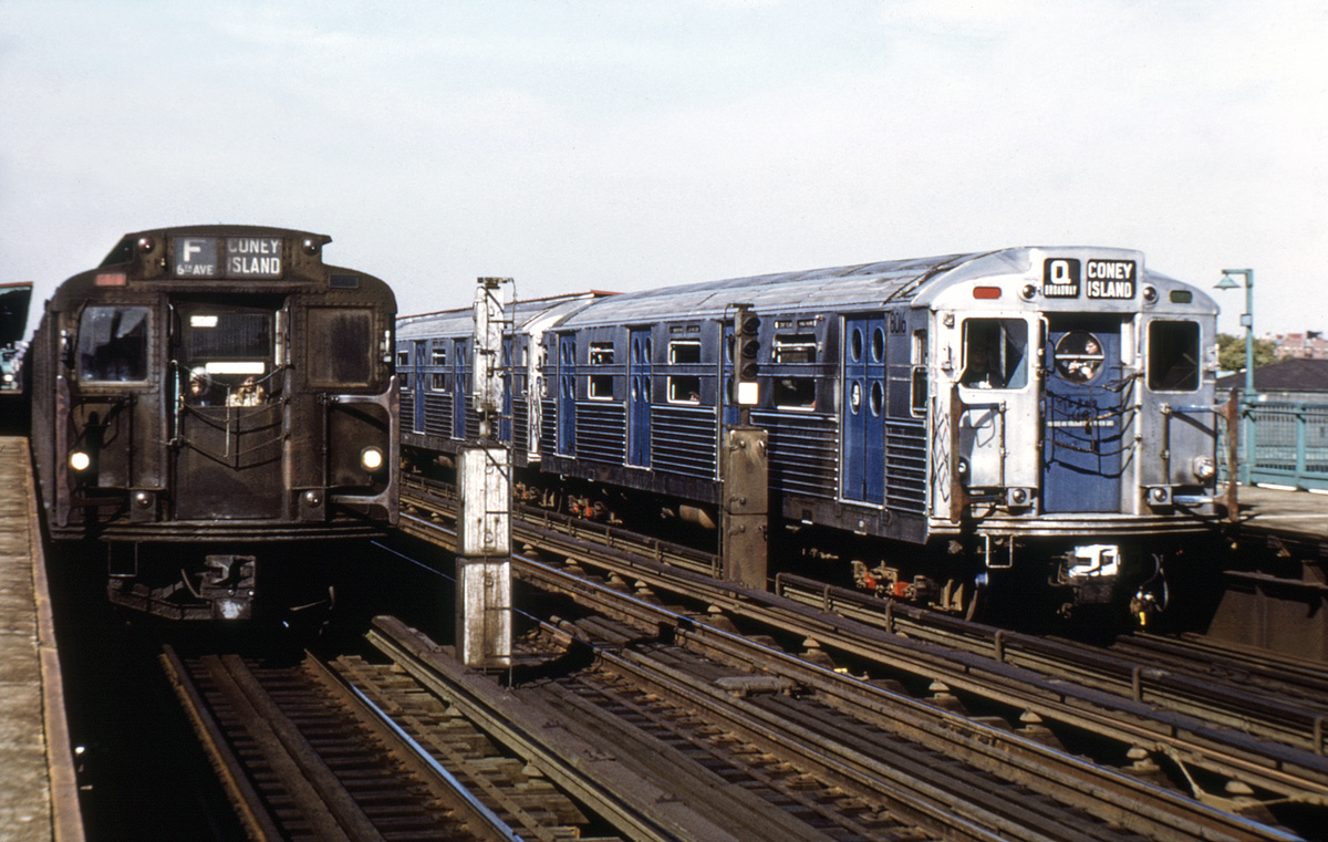 (193k, 1024x674)<br><b>Country:</b> United States<br><b>City:</b> New York<br><b>System:</b> New York City Transit<br><b>Line:</b> BMT Culver Line<br><b>Location:</b> Bay Parkway (22nd Avenue) <br><b>Route:</b> Fan Trip<br><b>Car:</b> R-11 (Budd, 1949) 8016 <br><b>Photo by:</b> Joe Testagrose<br><b>Date:</b> 10/21/1972<br><b>Notes:</b> With R6 1304<br><b>Viewed (this week/total):</b> 1 / 4689