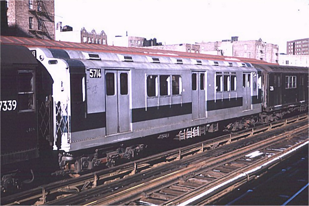 (170k, 1024x681)<br><b>Country:</b> United States<br><b>City:</b> New York<br><b>System:</b> New York City Transit<br><b>Line:</b> IRT West Side Line<br><b>Location:</b> 225th Street <br><b>Route:</b> 1<br><b>Car:</b> R-12 (American Car & Foundry, 1948) 5714 <br><b>Photo by:</b> Joe Testagrose<br><b>Date:</b> 1/3/1971<br><b>Viewed (this week/total):</b> 0 / 2509