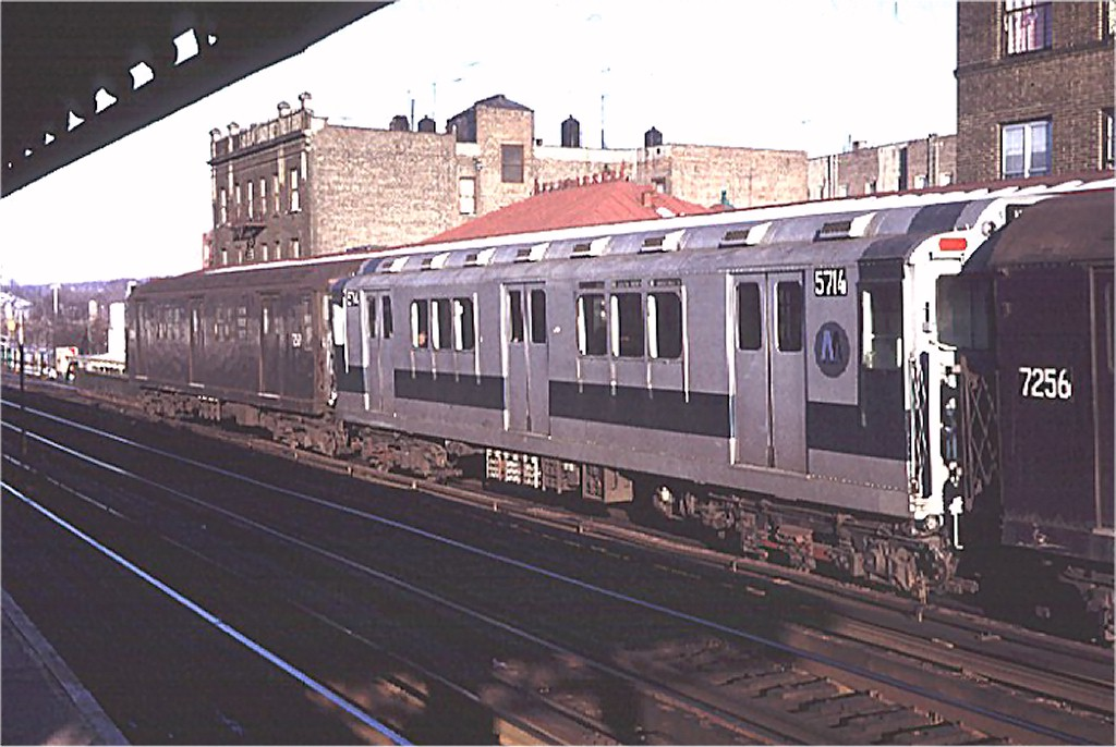 (171k, 1024x686)<br><b>Country:</b> United States<br><b>City:</b> New York<br><b>System:</b> New York City Transit<br><b>Line:</b> IRT West Side Line<br><b>Location:</b> 238th Street <br><b>Route:</b> 1<br><b>Car:</b> R-12 (American Car & Foundry, 1948) 5714 <br><b>Photo by:</b> Doug Grotjahn<br><b>Collection of:</b> Joe Testagrose<br><b>Date:</b> 1/3/1971<br><b>Viewed (this week/total):</b> 0 / 2232