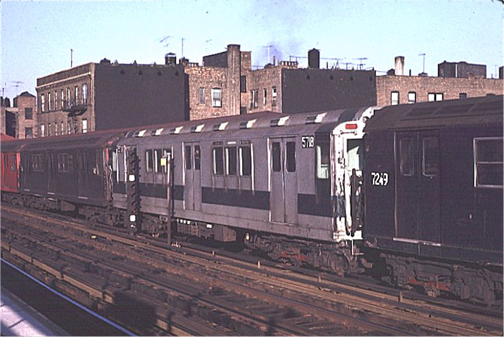 (173k, 1024x684)<br><b>Country:</b> United States<br><b>City:</b> New York<br><b>System:</b> New York City Transit<br><b>Line:</b> IRT West Side Line<br><b>Location:</b> 238th Street <br><b>Route:</b> 1<br><b>Car:</b> R-12 (American Car & Foundry, 1948) 5718 <br><b>Photo by:</b> Joe Testagrose<br><b>Date:</b> 2/6/1971<br><b>Viewed (this week/total):</b> 0 / 2361