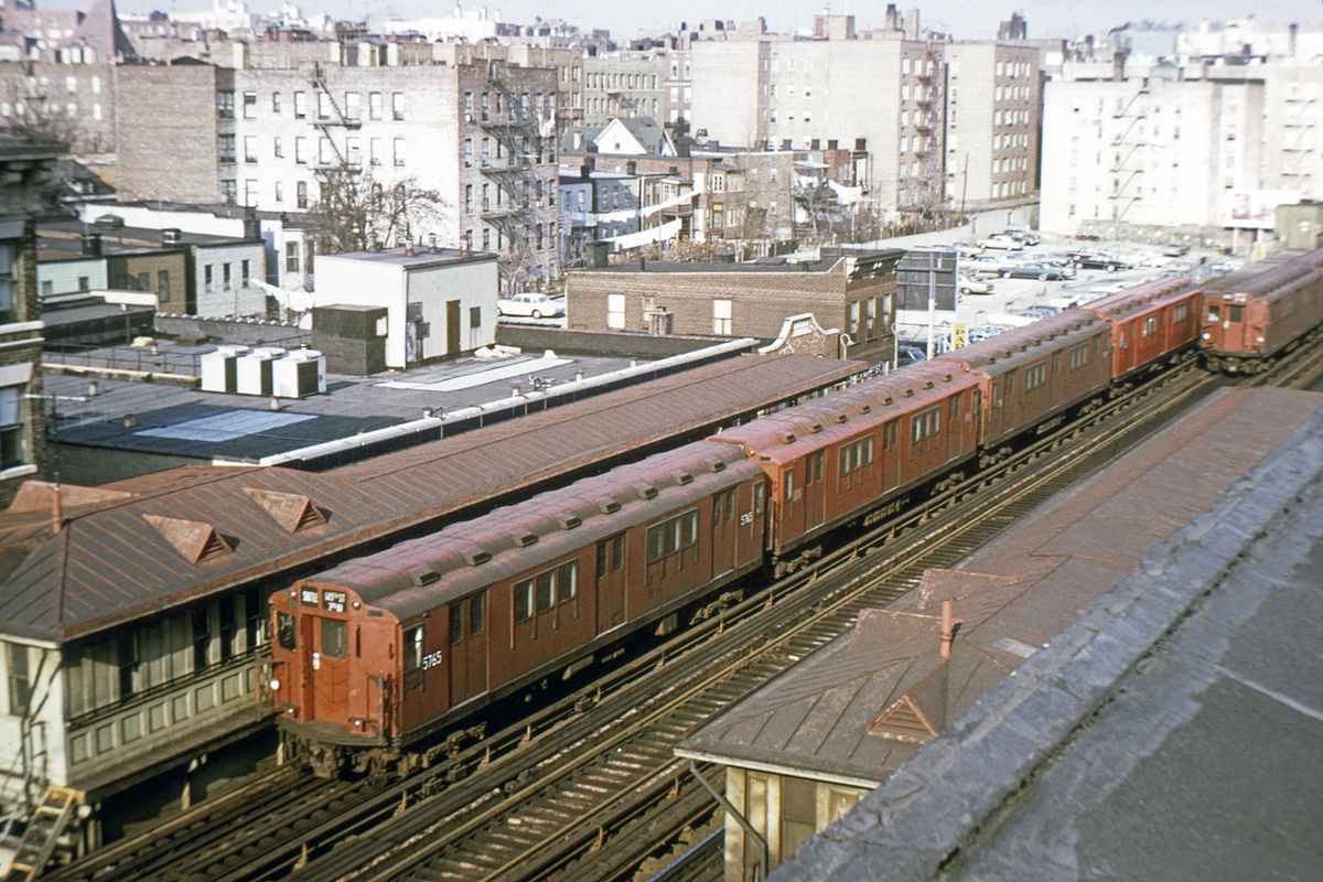 (220k, 1024x640)<br><b>Country:</b> United States<br><b>City:</b> New York<br><b>System:</b> New York City Transit<br><b>Line:</b> 3rd Avenue El<br><b>Location:</b> 204th Street <br><b>Route:</b> 8<br><b>Car:</b> R-12 (American Car & Foundry, 1948) 5765 <br><b>Photo by:</b> Joe Testagrose<br><b>Date:</b> 11/29/1969<br><b>Viewed (this week/total):</b> 1 / 4777