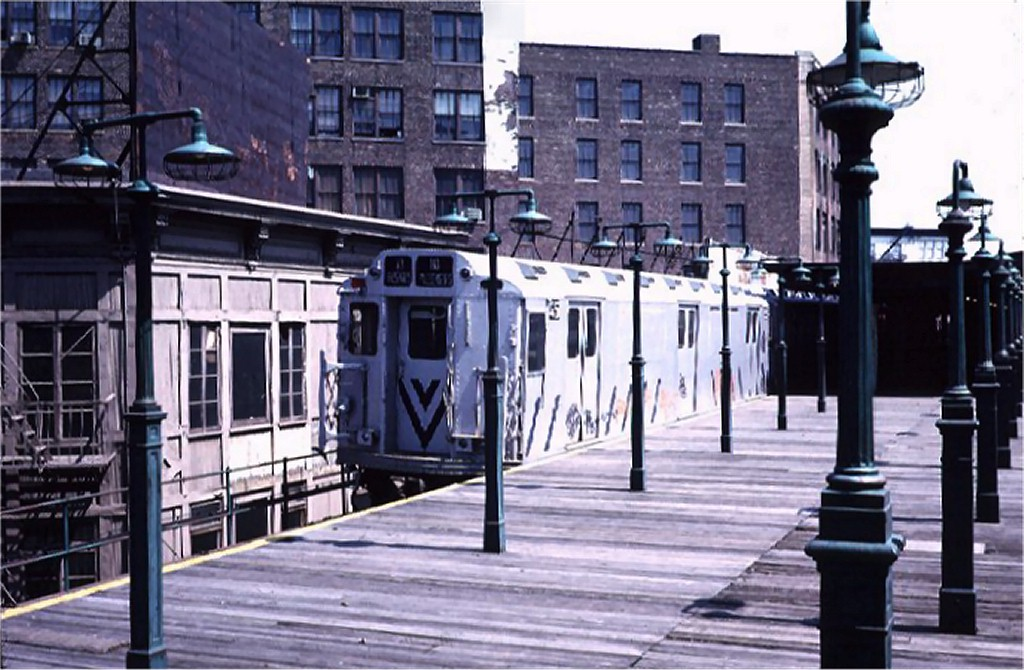 (188k, 1024x670)<br><b>Country:</b> United States<br><b>City:</b> New York<br><b>System:</b> New York City Transit<br><b>Line:</b> 3rd Avenue El<br><b>Location:</b> 149th Street <br><b>Route:</b> 8<br><b>Car:</b> R-12 (American Car & Foundry, 1948) E45 (ex-5714)<br><b>Photo by:</b> Steve Zabel<br><b>Collection of:</b> Joe Testagrose<br><b>Date:</b> 5/1/1973<br><b>Viewed (this week/total):</b> 6 / 9138