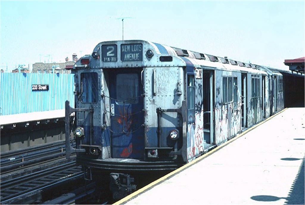 (163k, 1024x687)<br><b>Country:</b> United States<br><b>City:</b> New York<br><b>System:</b> New York City Transit<br><b>Line:</b> IRT White Plains Road Line<br><b>Location:</b> 233rd Street <br><b>Route:</b> 2<br><b>Car:</b> R-14 (American Car & Foundry, 1949) 5803 <br><b>Photo by:</b> Doug Grotjahn<br><b>Collection of:</b> Joe Testagrose<br><b>Date:</b> 4/17/1976<br><b>Viewed (this week/total):</b> 0 / 5518