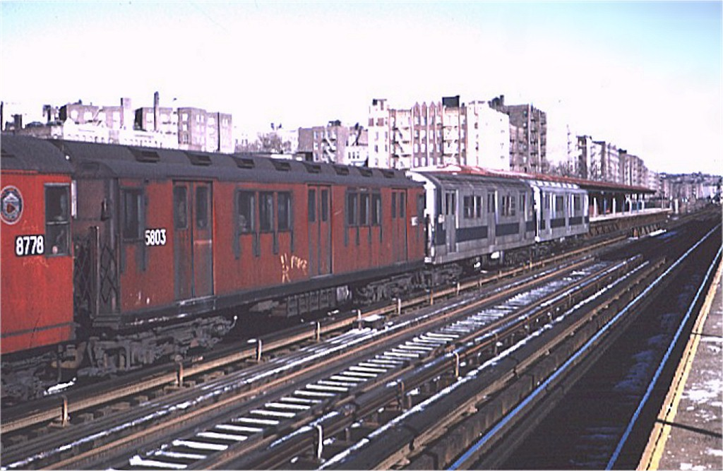 (171k, 1024x667)<br><b>Country:</b> United States<br><b>City:</b> New York<br><b>System:</b> New York City Transit<br><b>Line:</b> IRT Woodlawn Line<br><b>Location:</b> Mt. Eden Avenue <br><b>Route:</b> 4<br><b>Car:</b> R-14 (American Car & Foundry, 1949) 5803 <br><b>Photo by:</b> Joe Testagrose<br><b>Date:</b> 1/16/1971<br><b>Viewed (this week/total):</b> 1 / 3074