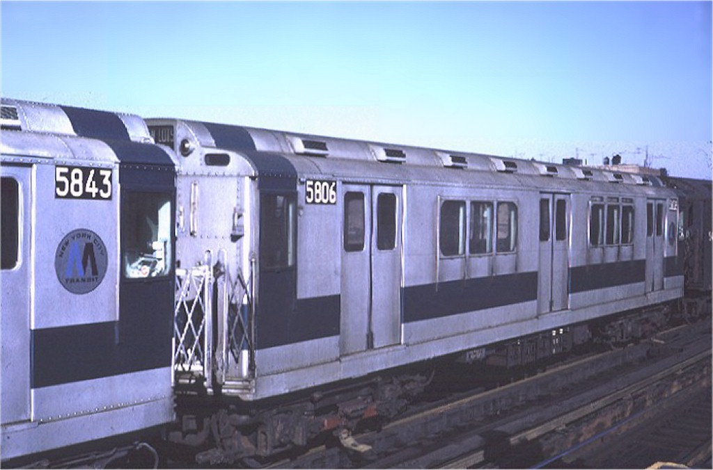 (135k, 1024x676)<br><b>Country:</b> United States<br><b>City:</b> New York<br><b>System:</b> New York City Transit<br><b>Line:</b> IRT White Plains Road Line<br><b>Location:</b> 225th Street <br><b>Car:</b> R-14 (American Car & Foundry, 1949) 5806 <br><b>Photo by:</b> Steve Zabel<br><b>Collection of:</b> Joe Testagrose<br><b>Date:</b> 2/6/1971<br><b>Viewed (this week/total):</b> 1 / 2717