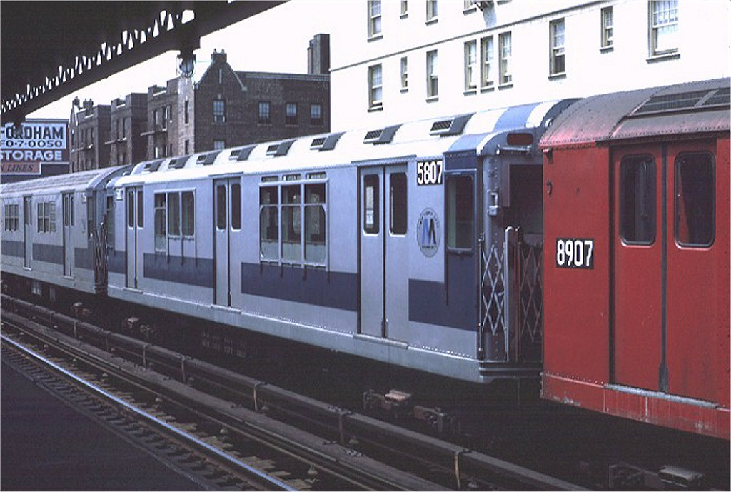 (168k, 1024x689)<br><b>Country:</b> United States<br><b>City:</b> New York<br><b>System:</b> New York City Transit<br><b>Line:</b> IRT Woodlawn Line<br><b>Location:</b> 183rd Street <br><b>Route:</b> 4<br><b>Car:</b> R-14 (American Car & Foundry, 1949) 5807 <br><b>Photo by:</b> Joe Testagrose<br><b>Date:</b> 8/7/1971<br><b>Viewed (this week/total):</b> 2 / 2541