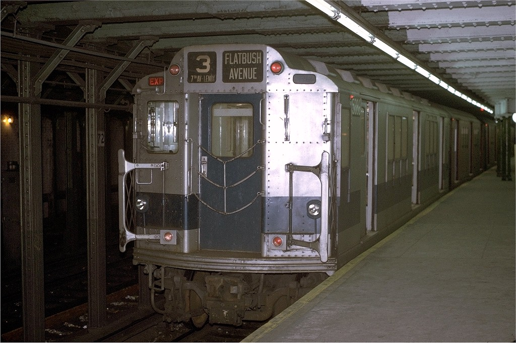 (219k, 1024x681)<br><b>Country:</b> United States<br><b>City:</b> New York<br><b>System:</b> New York City Transit<br><b>Line:</b> IRT West Side Line<br><b>Location:</b> 72nd Street <br><b>Route:</b> 3<br><b>Car:</b> R-14 (American Car & Foundry, 1949) 5886 <br><b>Photo by:</b> Joe Testagrose<br><b>Date:</b> 1/2/1971<br><b>Viewed (this week/total):</b> 3 / 3064