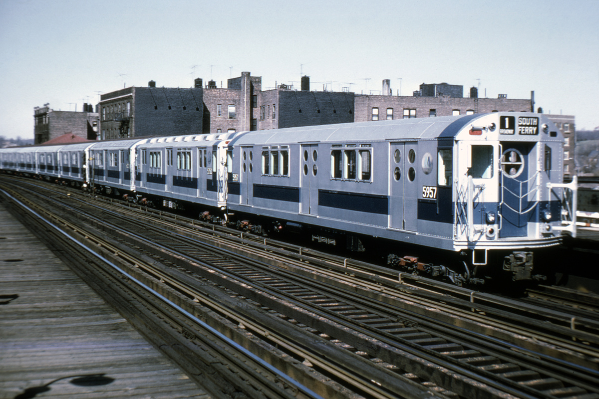(207k, 1024x672)<br><b>Country:</b> United States<br><b>City:</b> New York<br><b>System:</b> New York City Transit<br><b>Line:</b> IRT West Side Line<br><b>Location:</b> 238th Street <br><b>Route:</b> 1<br><b>Car:</b> R-15 (American Car & Foundry, 1950) 5957 <br><b>Photo by:</b> Doug Grotjahn<br><b>Collection of:</b> Joe Testagrose<br><b>Date:</b> 4/12/1970<br><b>Viewed (this week/total):</b> 1 / 6198