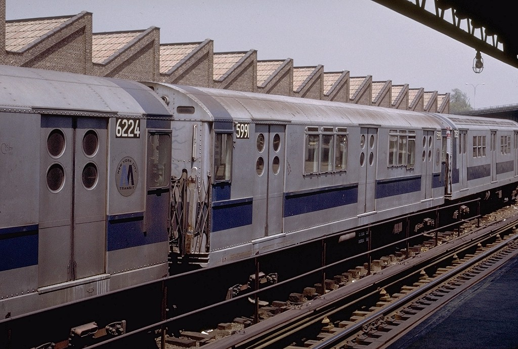 (225k, 1024x690)<br><b>Country:</b> United States<br><b>City:</b> New York<br><b>System:</b> New York City Transit<br><b>Location:</b> East 180th Street Yard<br><b>Car:</b> R-15 (American Car & Foundry, 1950) 5991 <br><b>Photo by:</b> Joe Testagrose<br><b>Date:</b> 5/6/1972<br><b>Viewed (this week/total):</b> 2 / 2241