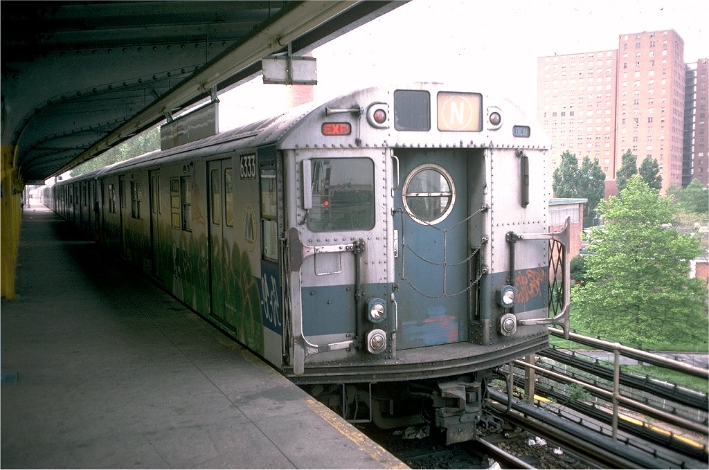 (220k, 1024x679)<br><b>Country:</b> United States<br><b>City:</b> New York<br><b>System:</b> New York City Transit<br><b>Location:</b> Coney Island/Stillwell Avenue<br><b>Route:</b> N<br><b>Car:</b> R-16 (American Car & Foundry, 1955) 6333 <br><b>Photo by:</b> Joe Testagrose<br><b>Date:</b> 6/1/1976<br><b>Viewed (this week/total):</b> 2 / 3331