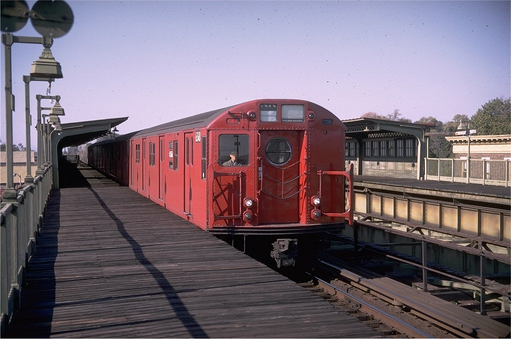 (206k, 1024x681)<br><b>Country:</b> United States<br><b>City:</b> New York<br><b>System:</b> New York City Transit<br><b>Line:</b> BMT Culver Line<br><b>Location:</b> Fort Hamilton Parkway <br><b>Route:</b> Culver Shuttle<br><b>Car:</b> R-16 (American Car & Foundry, 1955) 6348 <br><b>Photo by:</b> Doug Grotjahn<br><b>Collection of:</b> Joe Testagrose<br><b>Date:</b> 10/26/1968<br><b>Viewed (this week/total):</b> 12 / 6568