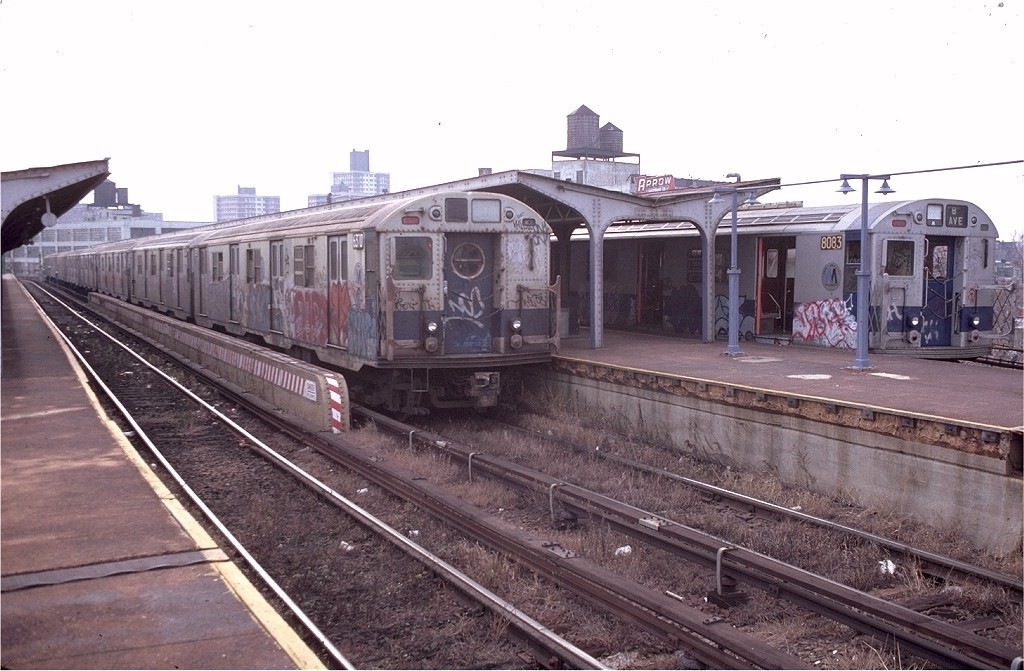 (192k, 1024x671)<br><b>Country:</b> United States<br><b>City:</b> New York<br><b>System:</b> New York City Transit<br><b>Line:</b> BMT Canarsie Line<br><b>Location:</b> Atlantic Avenue <br><b>Route:</b> LL<br><b>Car:</b> R-16 (American Car & Foundry, 1955) 6370 <br><b>Photo by:</b> Doug Grotjahn<br><b>Collection of:</b> Joe Testagrose<br><b>Date:</b> 11/23/1980<br><b>Viewed (this week/total):</b> 11 / 5513