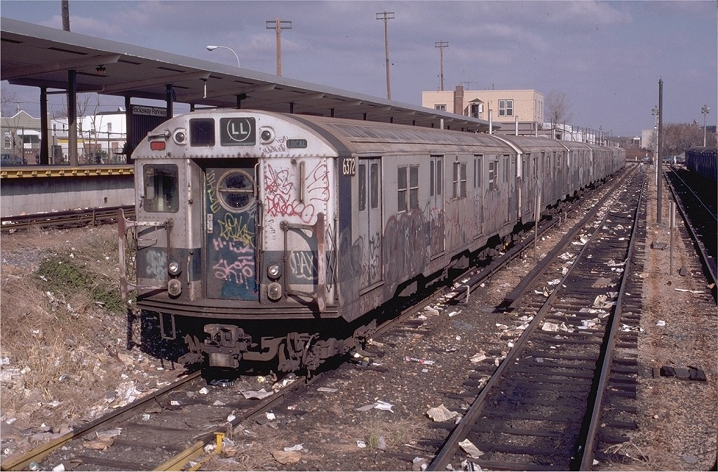 (286k, 1024x673)<br><b>Country:</b> United States<br><b>City:</b> New York<br><b>System:</b> New York City Transit<br><b>Location:</b> Rockaway Parkway (Canarsie) Yard<br><b>Car:</b> R-16 (American Car & Foundry, 1955) 6372 <br><b>Photo by:</b> Doug Grotjahn<br><b>Collection of:</b> Joe Testagrose<br><b>Date:</b> 11/22/1980<br><b>Viewed (this week/total):</b> 6 / 5518