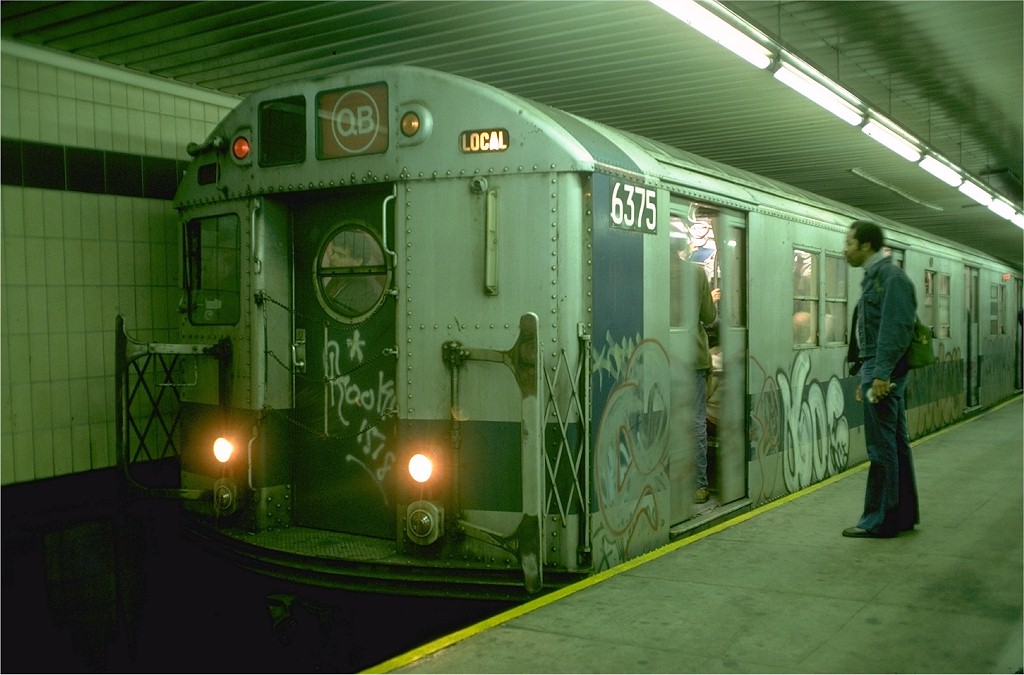 (162k, 1024x675)<br><b>Country:</b> United States<br><b>City:</b> New York<br><b>System:</b> New York City Transit<br><b>Location:</b> DeKalb Avenue<br><b>Route:</b> QB<br><b>Car:</b> R-16 (American Car & Foundry, 1955) 6375 <br><b>Photo by:</b> Doug Grotjahn<br><b>Collection of:</b> Joe Testagrose<br><b>Date:</b> 10/6/1976<br><b>Viewed (this week/total):</b> 3 / 6032