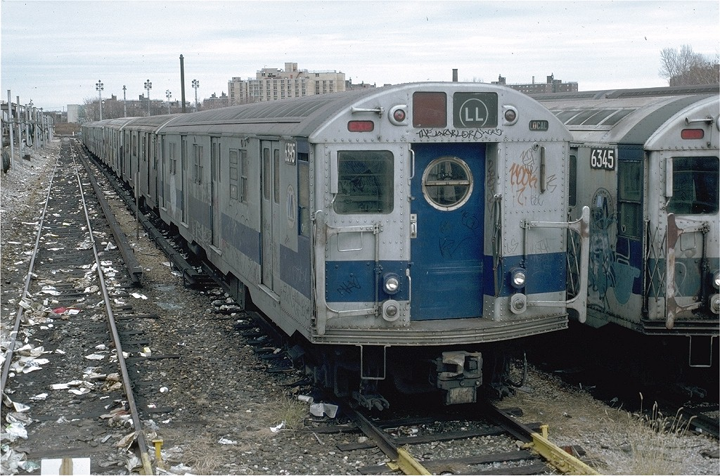 (265k, 1024x677)<br><b>Country:</b> United States<br><b>City:</b> New York<br><b>System:</b> New York City Transit<br><b>Location:</b> Rockaway Parkway (Canarsie) Yard<br><b>Car:</b> R-16 (American Car & Foundry, 1955) 6395 <br><b>Photo by:</b> Doug Grotjahn<br><b>Collection of:</b> Joe Testagrose<br><b>Date:</b> 11/27/1980<br><b>Viewed (this week/total):</b> 1 / 4542