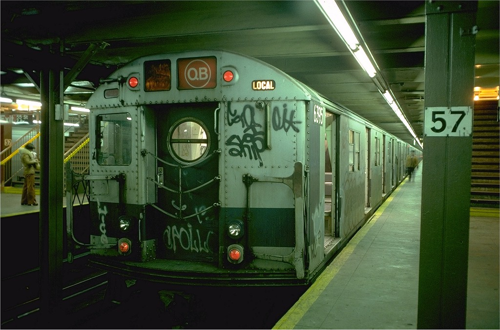 (197k, 1024x677)<br><b>Country:</b> United States<br><b>City:</b> New York<br><b>System:</b> New York City Transit<br><b>Line:</b> BMT Broadway Line<br><b>Location:</b> 57th Street <br><b>Route:</b> QB<br><b>Car:</b> R-16 (American Car & Foundry, 1955) 6395 <br><b>Photo by:</b> Doug Grotjahn<br><b>Collection of:</b> Joe Testagrose<br><b>Date:</b> 12/23/1976<br><b>Viewed (this week/total):</b> 5 / 4800
