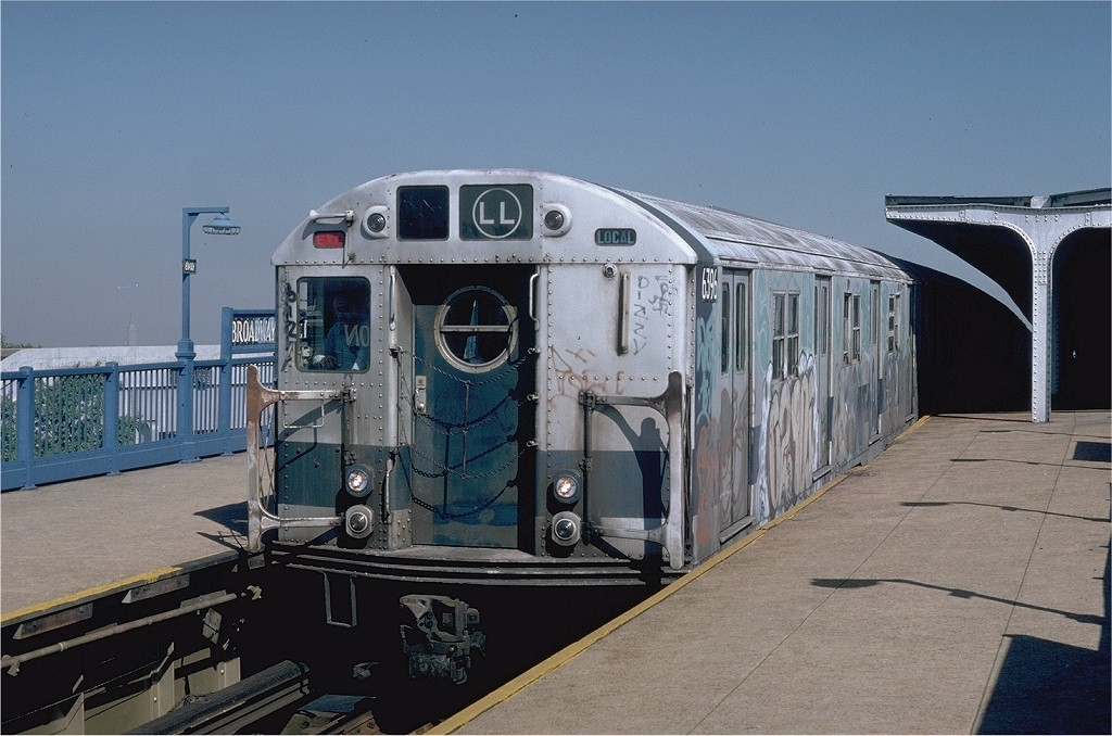 (191k, 1024x678)<br><b>Country:</b> United States<br><b>City:</b> New York<br><b>System:</b> New York City Transit<br><b>Line:</b> BMT Canarsie Line<br><b>Location:</b> Broadway Junction <br><b>Route:</b> LL<br><b>Car:</b> R-16 (American Car & Foundry, 1955) 6396 <br><b>Photo by:</b> Doug Grotjahn<br><b>Collection of:</b> Joe Testagrose<br><b>Date:</b> 9/12/1979<br><b>Viewed (this week/total):</b> 1 / 4012
