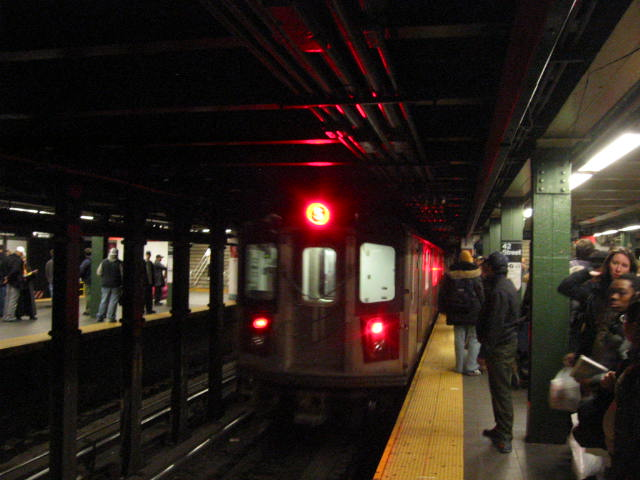 (52k, 640x480)<br><b>Country:</b> United States<br><b>City:</b> New York<br><b>System:</b> New York City Transit<br><b>Line:</b> IRT West Side Line<br><b>Location:</b> Times Square/42nd Street <br><b>Route:</b> 5<br><b>Car:</b> R-142 (Primary Order, Bombardier, 1999-2002)  6841 <br><b>Photo by:</b> Oren H.<br><b>Date:</b> 1/21/2006<br><b>Notes:</b> 5 train rerouted down the West Side.<br><b>Viewed (this week/total):</b> 0 / 5337