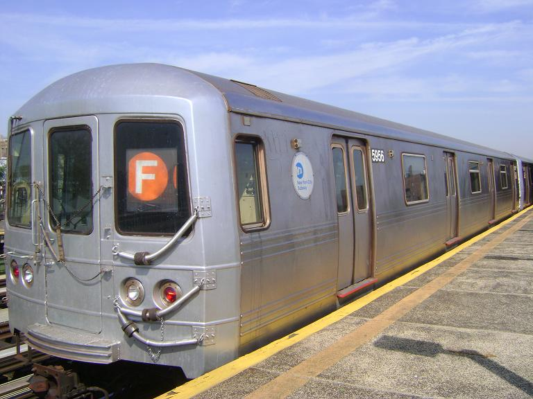 (92k, 768x576)<br><b>Country:</b> United States<br><b>City:</b> New York<br><b>System:</b> New York City Transit<br><b>Line:</b> BMT Culver Line<br><b>Location:</b> Avenue P <br><b>Route:</b> F<br><b>Car:</b> R-46 (Pullman-Standard, 1974-75) 5956 <br><b>Photo by:</b> John Dooley<br><b>Date:</b> 4/8/2010<br><b>Viewed (this week/total):</b> 0 / 843
