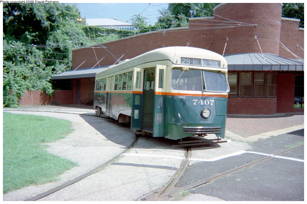 (301k, 1044x695)<br><b>Country:</b> United States<br><b>City:</b> Baltimore, MD<br><b>System:</b> Baltimore Streetcar Museum <br><b>Car:</b> PCC 7407 <br><b>Photo by:</b> David Pirmann<br><b>Date:</b> 8/10/1996<br><b>Notes:</b> BTC PCC 7407 Front view<br><b>Viewed (this week/total):</b> 6 / 14204