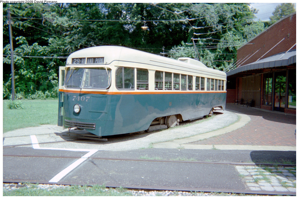 (305k, 1044x696)<br><b>Country:</b> United States<br><b>City:</b> Baltimore, MD<br><b>System:</b> Baltimore Streetcar Museum <br><b>Car:</b> PCC 7407 <br><b>Photo by:</b> David Pirmann<br><b>Date:</b> 8/10/1996<br><b>Notes:</b> BTC PCC 7407 left side<br><b>Viewed (this week/total):</b> 1 / 1593