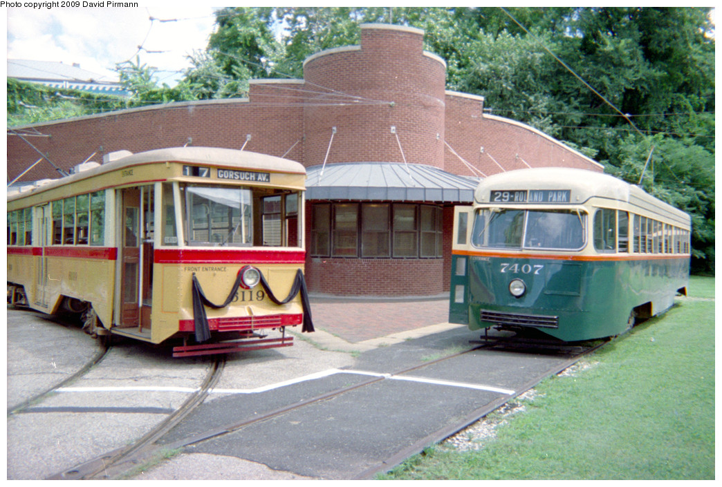 (292k, 1044x705)<br><b>Country:</b> United States<br><b>City:</b> Baltimore, MD<br><b>System:</b> Baltimore Streetcar Museum <br><b>Car:</b>  7407/6119 <br><b>Photo by:</b> David Pirmann<br><b>Date:</b> 8/10/1996<br><b>Viewed (this week/total):</b> 0 / 2076