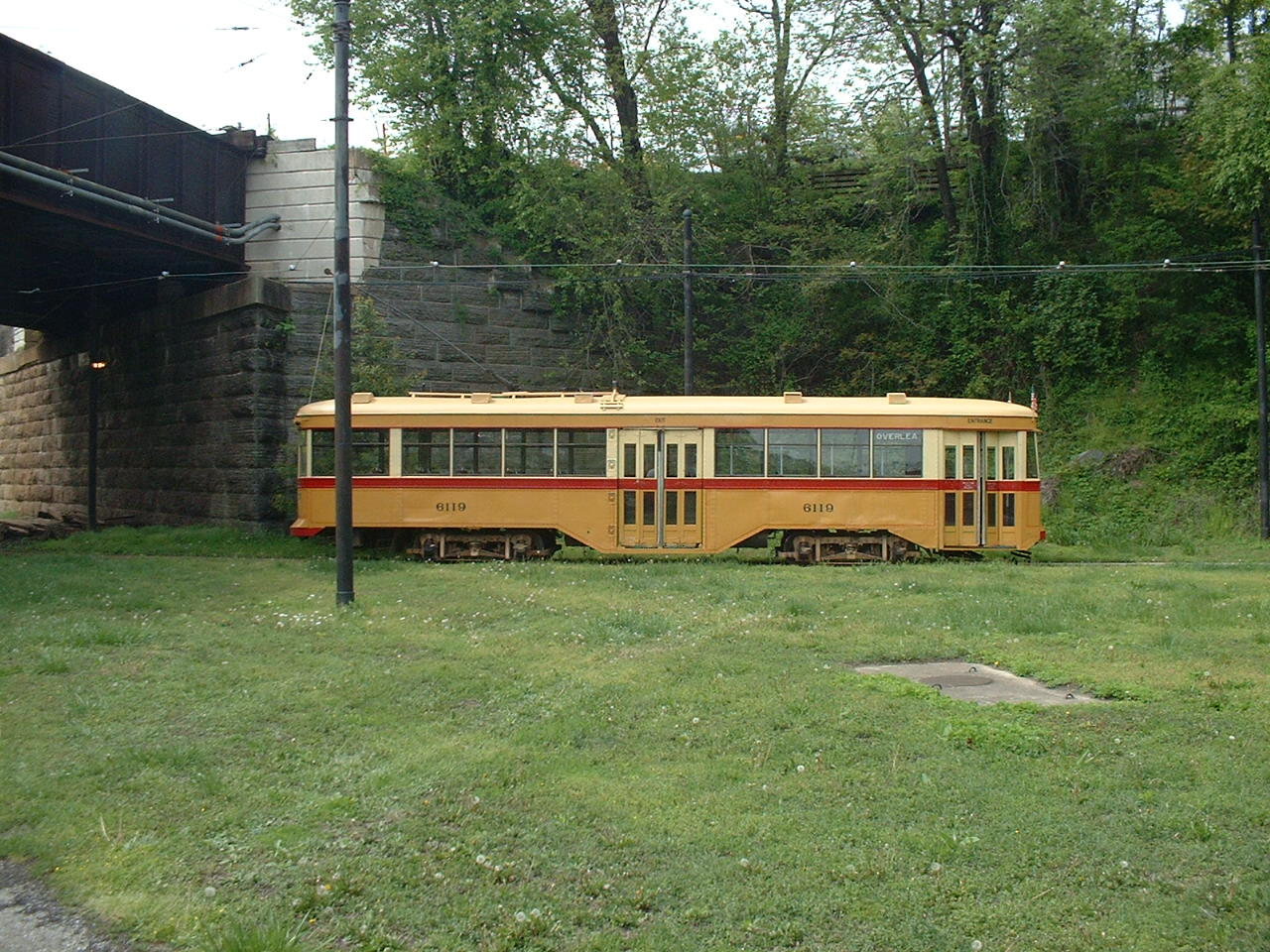 (300k, 1280x960)<br><b>Country:</b> United States<br><b>City:</b> Baltimore, MD<br><b>System:</b> Baltimore Streetcar Museum <br><b>Car:</b>  6119 <br><b>Photo by:</b> Dan Lawrence<br><b>Date:</b> 4/27/2002<br><b>Notes:</b> BSM 6119 at North Avenue Loop<br><b>Viewed (this week/total):</b> 4 / 3291