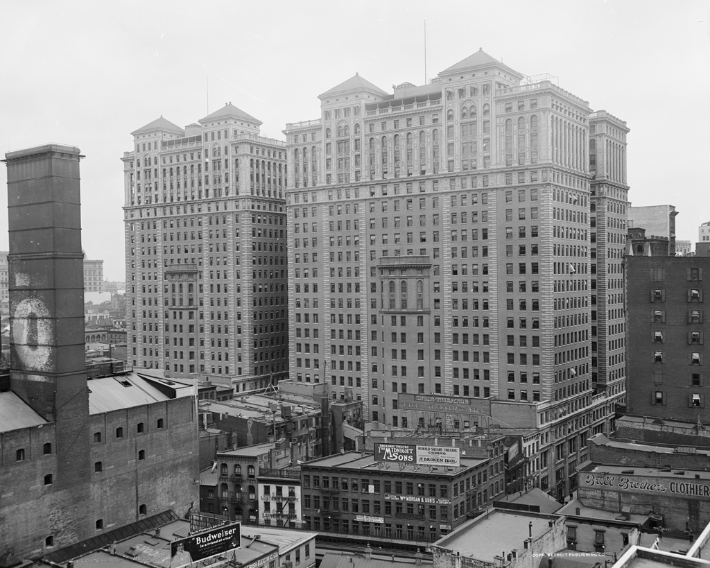 (502k, 1024x819)<br><b>Country:</b> United States<br><b>City:</b> New York<br><b>System:</b> PATH<br><b>Location:</b> Hudson Terminal <br><b>Photo by:</b> Detroit Publishing Co.<br><b>Collection of:</b> Library of Congress, Prints and Photographs Division<br><b>Notes:</b> Hudson Terminal buildings, circa 1920<br><b>Viewed (this week/total):</b> 1 / 6614