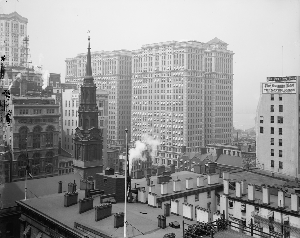 (451k, 1024x813)<br><b>Country:</b> United States<br><b>City:</b> New York<br><b>System:</b> PATH<br><b>Location:</b> Hudson Terminal <br><b>Photo by:</b> Detroit Publishing Co.<br><b>Collection of:</b> Library of Congress, Prints and Photographs Division<br><b>Notes:</b> Hudson Terminal buildings, circa 1920<br><b>Viewed (this week/total):</b> 0 / 6070