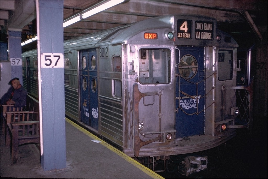 (198k, 1024x686)<br><b>Country:</b> United States<br><b>City:</b> New York<br><b>System:</b> New York City Transit<br><b>Line:</b> BMT Broadway Line<br><b>Location:</b> 57th Street <br><b>Route:</b> Fan Trip<br><b>Car:</b> R-11 (Budd, 1949) 8012 <br><b>Photo by:</b> Doug Grotjahn<br><b>Collection of:</b> Joe Testagrose<br><b>Date:</b> 10/21/1972<br><b>Viewed (this week/total):</b> 0 / 3294