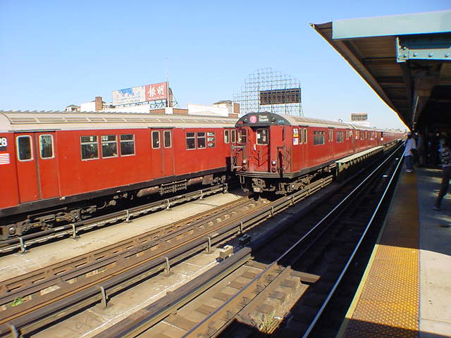 (60k, 640x480)<br><b>Country:</b> United States<br><b>City:</b> New York<br><b>System:</b> New York City Transit<br><b>Line:</b> IRT Flushing Line<br><b>Location:</b> 33rd Street/Rawson Street <br><b>Route:</b> 7<br><b>Car:</b> R-36 World's Fair (St. Louis, 1963-64) 9676 <br><b>Photo by:</b> Salaam Allah<br><b>Date:</b> 9/18/2002<br><b>Viewed (this week/total):</b> 4 / 2819