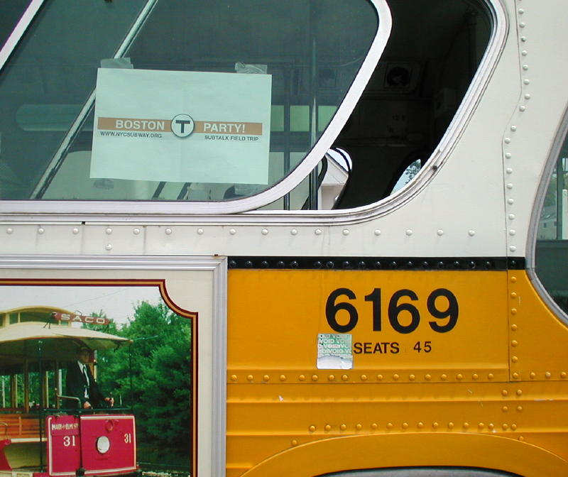 (82k, 800x672)<br><b>Country:</b> United States<br><b>City:</b> Kennebunk, ME<br><b>System:</b> Seashore Trolley Museum <br><b>Photo by:</b> Todd Glickman<br><b>Date:</b> 7/15/2000<br><b>Notes:</b> Ex-MBTA bus #6169 with its SubTalk Field Trip sign, designed by David S. Cole.  This bus was driven by Todd Glickman to pick up our guests at their motel, and to take the group to lunch in Kennebunkport.<br><b>Viewed (this week/total):</b> 0 / 4286