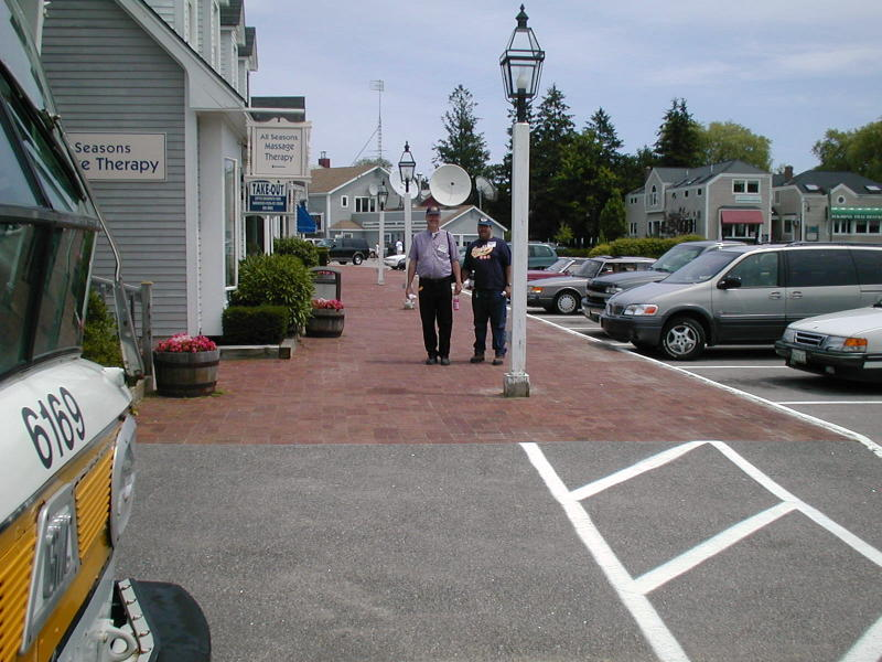 (96k, 800x600)<br><b>Country:</b> United States<br><b>City:</b> Kennebunk, ME<br><b>System:</b> Seashore Trolley Museum <br><b>Photo by:</b> Todd Glickman<br><b>Date:</b> 7/15/2000<br><b>Notes:</b> Lunch break for Doug aka BMTman and Thurston, in Kennebunkport center.<br><b>Viewed (this week/total):</b> 1 / 4011