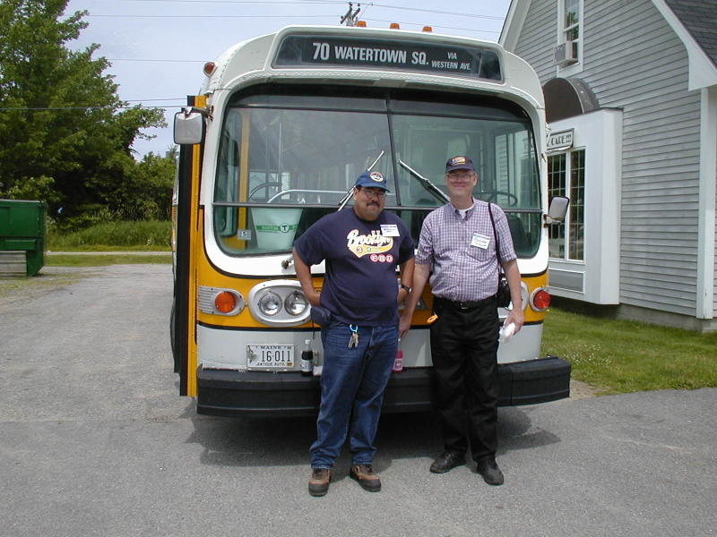 (97k, 800x600)<br><b>Country:</b> United States<br><b>City:</b> Kennebunk, ME<br><b>System:</b> Seashore Trolley Museum <br><b>Photo by:</b> Todd Glickman<br><b>Date:</b> 7/15/2000<br><b>Notes:</b> Doug aka BMTman and Thurston pose in front of ex-MBTA bus #6169 in Kennebunkport center.<br><b>Viewed (this week/total):</b> 3 / 5580