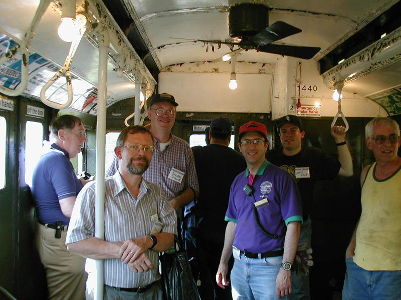 (95k, 800x600)<br><b>Country:</b> United States<br><b>City:</b> Kennebunk, ME<br><b>System:</b> Seashore Trolley Museum <br><b>Photo by:</b> Todd Glickman<br><b>Date:</b> 7/15/2000<br><b>Notes:</b> SubTalkers (beginning with second from left) wsteil, Thurston, Doug aka BMTman (facing the railfan window!) Todd Glickman, and David S. Cole.  Seashore trustee Danny Cohen is on the right.<br><b>Viewed (this week/total):</b> 0 / 4554