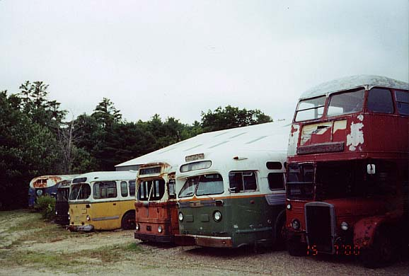 (39k, 578x390)<br><b>Country:</b> United States<br><b>City:</b> Kennebunk, ME<br><b>System:</b> Seashore Trolley Museum <br><b>Photo by:</b> Thurston Clark<br><b>Date:</b> 7/15/2000<br><b>Notes:</b> Back to front: #784 B&M Transportation Co. Mfg 1949 by GM Intercity PDA-3703; # unk, owner unk, mfg 1946 by Ford rear engine gasoline; #273 Halifax NS, Mfg 1950 by CCF Brill T-44A trackless trolley; #2918 Boston; Mfg 1951 by White 1144 gasoline with left hand door; #504 Portland ME, Mfg 1950 by GM TDH-5103; #RTL-1628 is former London UK; Mfg 1949 by Leyland & is typical double decker from that city<br><b>Viewed (this week/total):</b> 0 / 3603