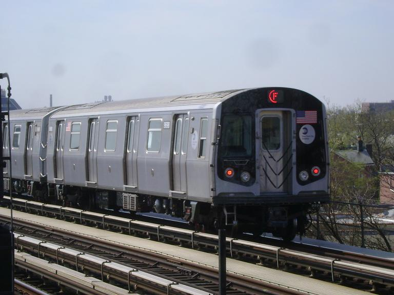 (85k, 768x576)<br><b>Country:</b> United States<br><b>City:</b> New York<br><b>System:</b> New York City Transit<br><b>Line:</b> BMT Culver Line<br><b>Location:</b> Avenue P <br><b>Route:</b> F<br><b>Car:</b> R-160A (Option 2) (Alstom, 2009, 5-car sets)  9698 <br><b>Photo by:</b> John Dooley<br><b>Date:</b> 4/8/2010<br><b>Viewed (this week/total):</b> 1 / 471