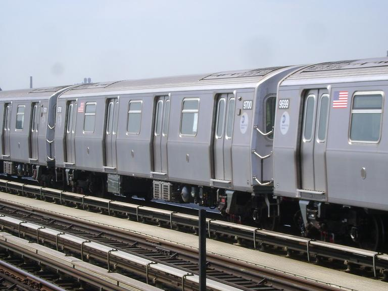(88k, 768x576)<br><b>Country:</b> United States<br><b>City:</b> New York<br><b>System:</b> New York City Transit<br><b>Line:</b> BMT Culver Line<br><b>Location:</b> Avenue P <br><b>Route:</b> F<br><b>Car:</b> R-160A (Option 2) (Alstom, 2009, 5-car sets)  9700 <br><b>Photo by:</b> John Dooley<br><b>Date:</b> 4/8/2010<br><b>Viewed (this week/total):</b> 0 / 488