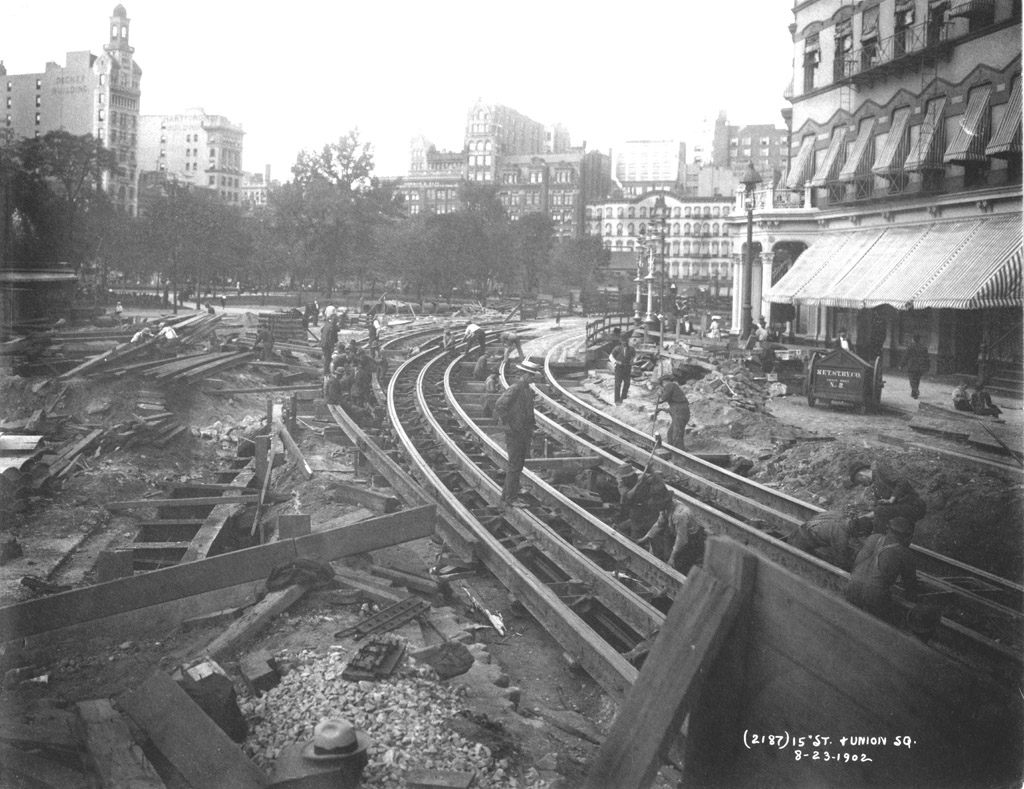 (232k, 1024x789)<br><b>Country:</b> United States<br><b>City:</b> New York<br><b>System:</b> New York City Transit<br><b>Line:</b> IRT (Early Views of Construction)<br><b>Location:</b> 4th Avenue-Manhattan<br><b>Collection of:</b> Al Schmitt<br><b>Date:</b> 8/23/1902<br><b>Notes:</b> View of Union Square at 15th Street during construction of the IRT Subway showing relocation of streetcar tracks<br><b>Viewed (this week/total):</b> 0 / 9249