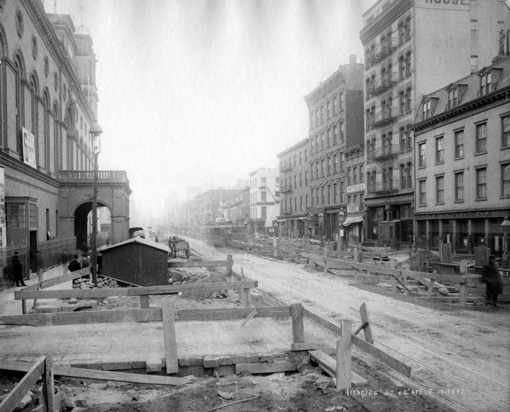 (247k, 1024x826)<br><b>Country:</b> United States<br><b>City:</b> New York<br><b>System:</b> New York City Transit<br><b>Line:</b> IRT (Early Views of Construction)<br><b>Location:</b> 4th Avenue-Manhattan<br><b>Collection of:</b> Al Schmitt<br><b>Date:</b> 2/10/1902<br><b>Notes:</b> View of 4th Avenue at 26th Street during construction of the IRT Subway<br><b>Viewed (this week/total):</b> 2 / 5866