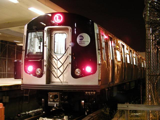 (52k, 640x480)<br><b>Country:</b> United States<br><b>City:</b> New York<br><b>System:</b> New York City Transit<br><b>Line:</b> BMT Canarsie Line<br><b>Location:</b> Rockaway Parkway <br><b>Route:</b> L<br><b>Car:</b> R-143 (Kawasaki, 2001-2002) 8120 <br><b>Photo by:</b> Trevor Logan<br><b>Date:</b> 12/6/2001<br><b>Viewed (this week/total):</b> 3 / 5686