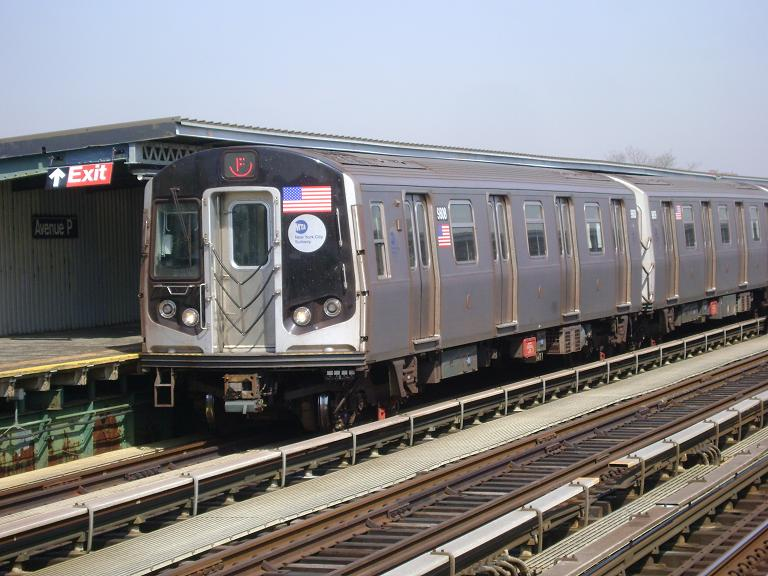 (102k, 768x576)<br><b>Country:</b> United States<br><b>City:</b> New York<br><b>System:</b> New York City Transit<br><b>Line:</b> BMT Culver Line<br><b>Location:</b> Avenue P <br><b>Route:</b> F<br><b>Car:</b> R-160B (Option 2) (Kawasaki, 2009)  9808 <br><b>Photo by:</b> John Dooley<br><b>Date:</b> 4/8/2010<br><b>Viewed (this week/total):</b> 3 / 918