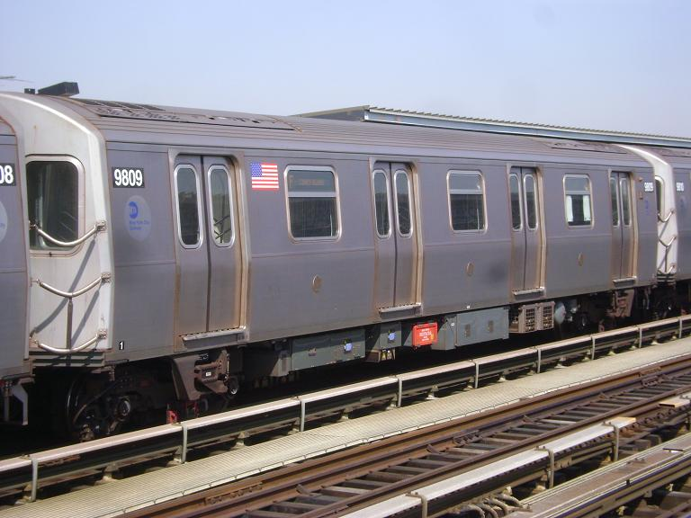 (92k, 768x576)<br><b>Country:</b> United States<br><b>City:</b> New York<br><b>System:</b> New York City Transit<br><b>Line:</b> BMT Culver Line<br><b>Location:</b> Avenue P <br><b>Route:</b> F<br><b>Car:</b> R-160B (Option 2) (Kawasaki, 2009)  9809 <br><b>Photo by:</b> John Dooley<br><b>Date:</b> 4/8/2010<br><b>Viewed (this week/total):</b> 1 / 724
