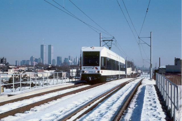 (38k, 640x426)<br><b>Country:</b> United States<br><b>City:</b> Jersey City, NJ<br><b>System:</b> Hudson Bergen Light Rail<br><b>Location:</b> Garfield Avenue <br><b>Car:</b> NJT-HBLR LRV (Kinki-Sharyo, 1998-99)   <br><b>Photo by:</b> Harry Pinsker<br><b>Date:</b> 1/7/2001<br><b>Viewed (this week/total):</b> 1 / 5831