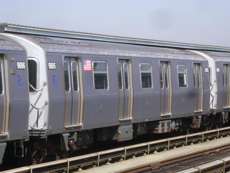 (84k, 768x576)<br><b>Country:</b> United States<br><b>City:</b> New York<br><b>System:</b> New York City Transit<br><b>Line:</b> BMT Culver Line<br><b>Location:</b> Avenue P <br><b>Route:</b> F<br><b>Car:</b> R-160B (Option 2) (Kawasaki, 2009)  9885 <br><b>Photo by:</b> John Dooley<br><b>Date:</b> 4/8/2010<br><b>Viewed (this week/total):</b> 4 / 452