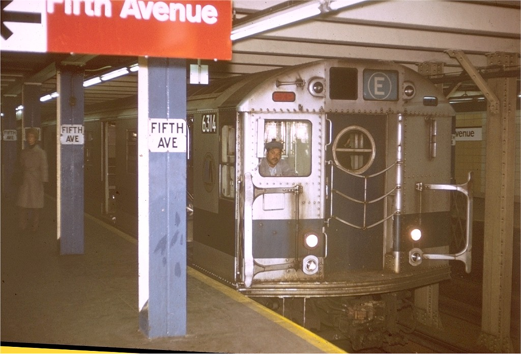 (171k, 1024x695)<br><b>Country:</b> United States<br><b>City:</b> New York<br><b>System:</b> New York City Transit<br><b>Line:</b> BMT Broadway Line<br><b>Location:</b> 5th Avenue <br><b>Route:</b> E<br><b>Car:</b> R-16 (American Car & Foundry, 1955) 6314 <br><b>Photo by:</b> Joe Testagrose<br><b>Date:</b> 12/4/1971<br><b>Viewed (this week/total):</b> 6 / 5814