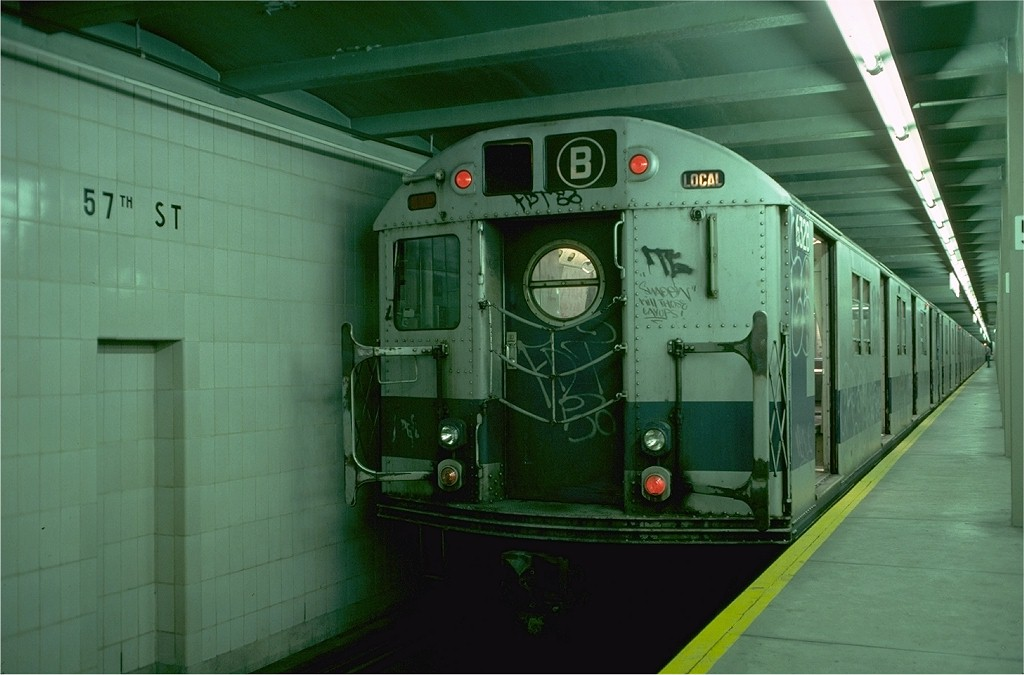 (151k, 1024x675)<br><b>Country:</b> United States<br><b>City:</b> New York<br><b>System:</b> New York City Transit<br><b>Line:</b> IND 6th Avenue Line<br><b>Location:</b> 57th Street <br><b>Route:</b> B<br><b>Car:</b> R-16 (American Car & Foundry, 1955) 6328 <br><b>Photo by:</b> Doug Grotjahn<br><b>Collection of:</b> Joe Testagrose<br><b>Date:</b> 9/19/1976<br><b>Viewed (this week/total):</b> 2 / 4638